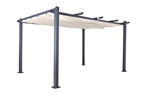Jet-line Pavillon Pergola Überdachung 'Luxor 4 x 3 m anthrazit-beige UV Beschattung Terrasse Garten Sonnenschutz Sonnendach mit Notüberlauf Aluminium