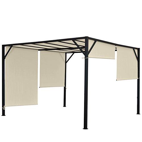 Mendler Pergola Baia, Garten Pavillon Terrassenüberdachung, stabiles 6cm-Stahl-Gestell + Schiebedach - 4x3m