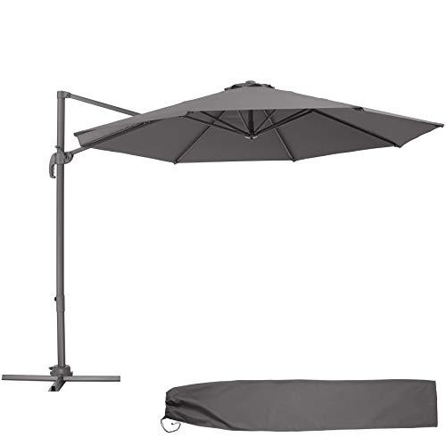 TecTake 800684 Aluminium Garten Sonnenschirm mit Seitenmast und Kurbel, inkl. Ständer, höhenverstellbar, klappbar, UV-Schutz 50+, Ø 300 cm, grau