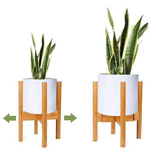 YEALEO Verstellbarer Pflanzenständer Mid Century Wood Blumenständer Modern Blumentopfhalter für den Innen- und Außenbereich, 21-30cm Pflanzgefäß, Primärfarbe-1 Pack