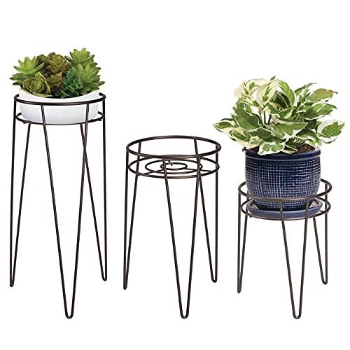 mDesign 3-er Set Midcentury Pflanzenständer für Blumen, Sukkulenten aus Metall – runder Blumenständer im modernen Design – vielseitig nutzbare Blumensäule für drinnen und draußen – bronzefarben