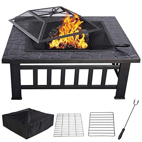 AufuN Feuerstelle mit Grillrost 81x81x37cm - 3 in 1 Multifunktional Feuerschale für Heizung/BBQ- Quadratisch Metall Feuerkorb mit wasserfeste Schutzhülle